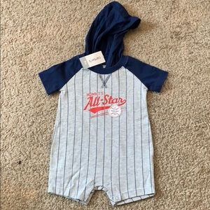 Baseball baby boy, Hooded romper
